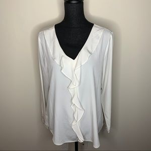 Ann Taylor Ruffle Front White Blouse Large